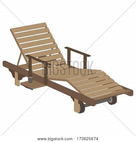 Recliner wooden vector isolated on white illustration