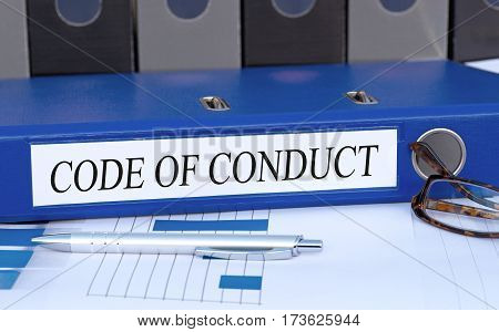 Code of Conduct - blue binder on desk in the office