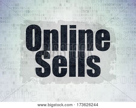 Marketing concept: Painted black text Online Sells on Digital Data Paper background with   Tag Cloud