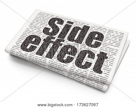 Medicine concept: Pixelated black text Side Effect on Newspaper background, 3D rendering