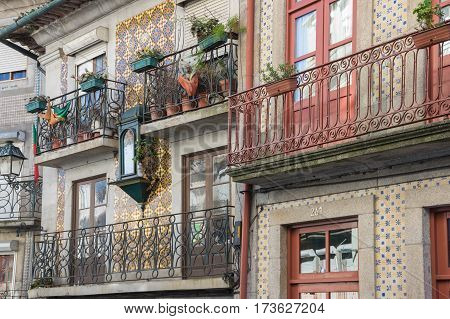 PORTO PORTUGAL - OCTOBER 20 2015: Facades of houses in the old town of Porto Portugal