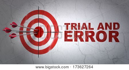 Success Science concept: arrows hitting the center of target, Red Trial And Error on wall background, 3D rendering