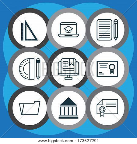 Set Of 9 Education Icons. Includes Document Case, Measurement, Education Center And Other Symbols. Beautiful Design Elements.
