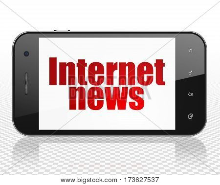News concept: Smartphone with red text Internet News on display, 3D rendering