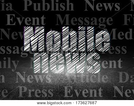 News concept: Glowing text Mobile News in grunge dark room with Dirty Floor, black background with  Tag Cloud