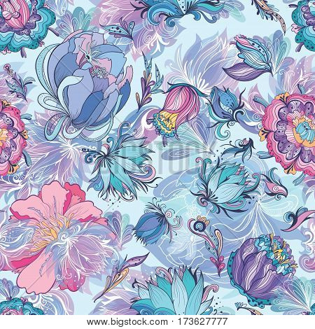 Seamless floral texture with doodle lily, lotus and peonies on blue background