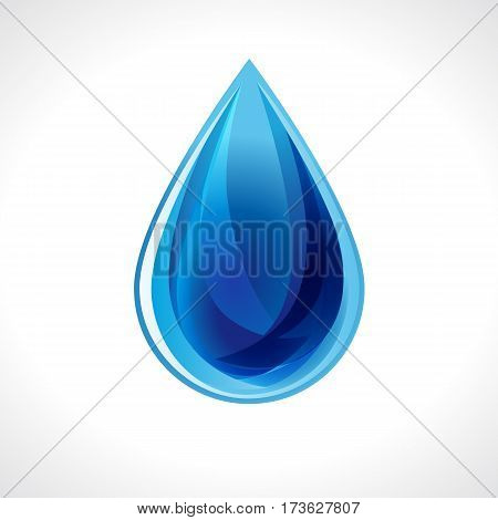 Clean water drop vector isolated on white. Water drop illustration. Falling blue water drop