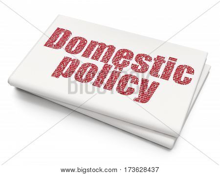 Political concept: Pixelated red text Domestic Policy on Blank Newspaper background, 3D rendering