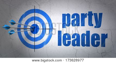 Success political concept: arrows hitting the center of target, Blue Party Leader on wall background, 3D rendering