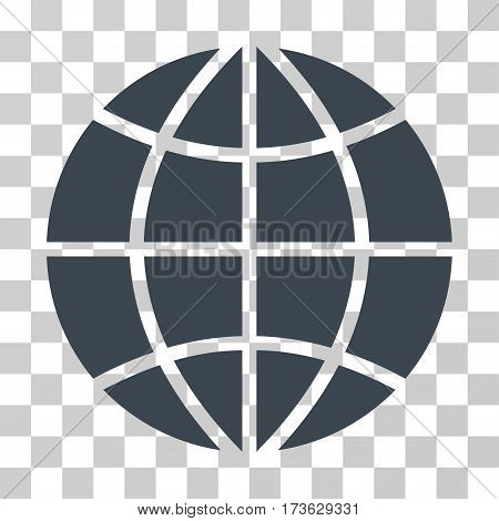 Planet Globe vector pictograph. Illustration style is flat iconic smooth blue symbol on a transparent background.