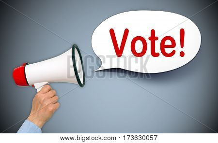 Vote - female hand with megaphone and speech bubble