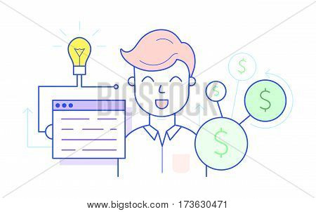 Generate ideas concept. Use data to draw conclusions, find customers and profit. Data driven insights concept. Finding target market and increasing income. Creating a business strategy concept.