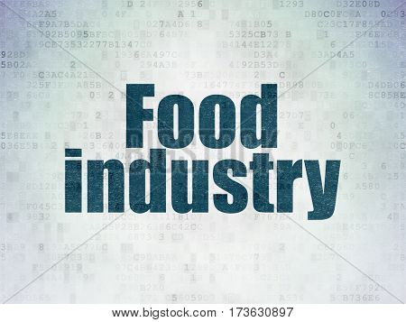 Industry concept: Painted blue word Food Industry on Digital Data Paper background