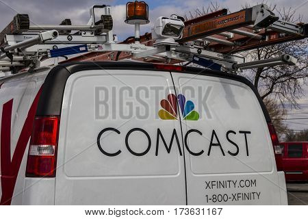 Indianapolis - Circa February 2017: Comcast Service Vehicle. Comcast is a Multinational Mass Media Company XI