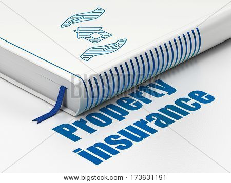 Insurance concept: closed book with Blue House And Palm icon and text Property Insurance on floor, white background, 3D rendering