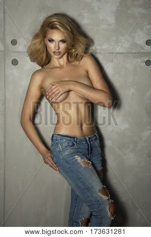 Young, Fit And Sexy Woman Only In Jeans.