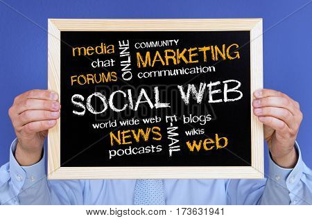 Social Web - Manager with business concept chalkboard