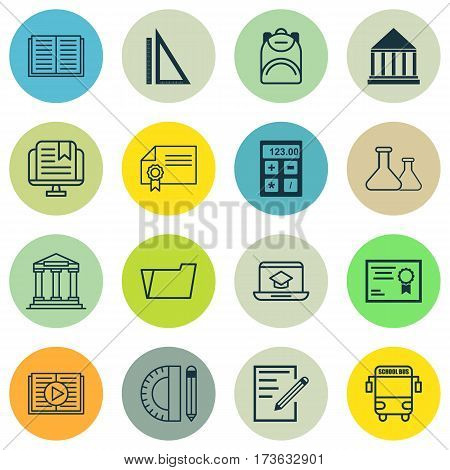 Set Of 16 Education Icons. Includes Haversack, Document Case, Diploma And Other Symbols. Beautiful Design Elements.