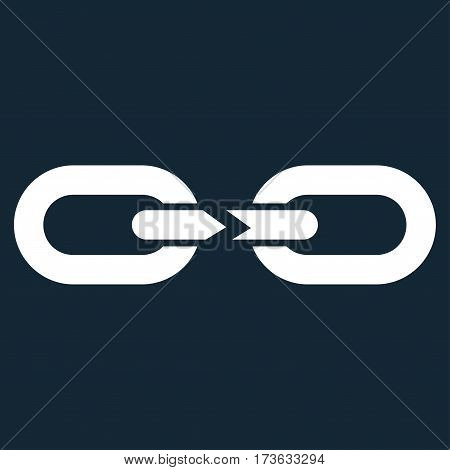 Chain Break vector icon. Flat white symbol. Pictogram is isolated on a dark blue background. Designed for web and software interfaces.