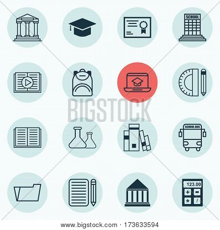 Set Of 16 Education Icons. Includes Document Case, Opened Book, Library And Other Symbols. Beautiful Design Elements.