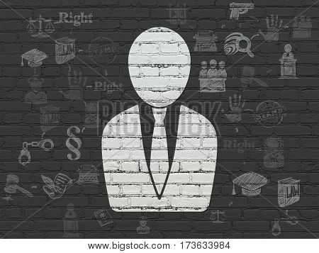 Law concept: Painted white Business Man icon on Black Brick wall background with Scheme Of Hand Drawn Law Icons