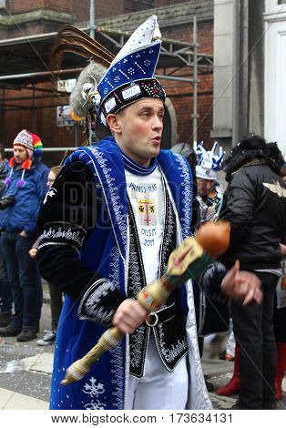 AALST, BELGIUM, FEBRUARY 26 2017: Prince Carnival 2017, Raf Sidorski, dancing in the Sunday parade during Aalst carnival in East Flanders.