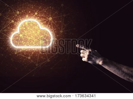 man's hand holding on the palm of a glowing symbol of the house