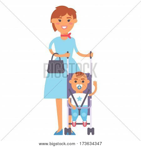 Family people adult happiness smiling mother with son togetherness parenting concept and casual parent, cheerful, lifestyle happy character vector illustration. Healthy joyful young human generation.