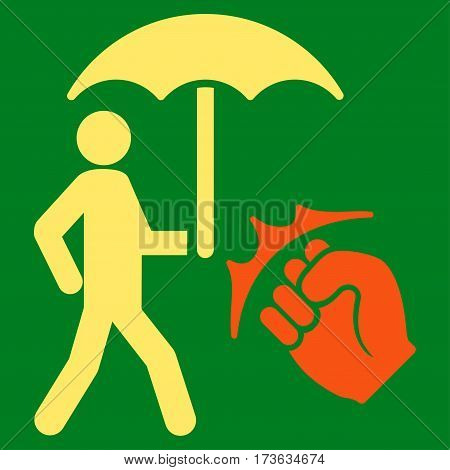 Crime Coverage vector icon. Flat bicolor orange and yellow symbol. Pictogram is isolated on a green background. Designed for web and software interfaces.