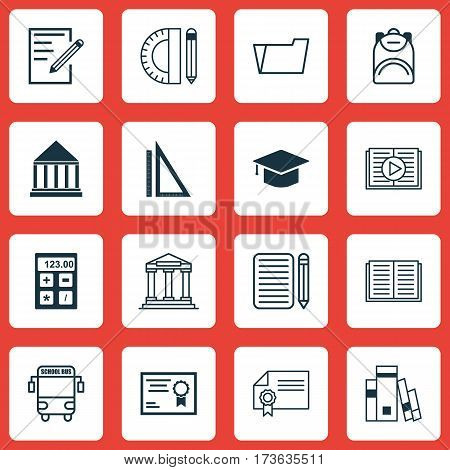 Set Of 16 School Icons. Includes Opened Book, Document Case, Education Center And Other Symbols. Beautiful Design Elements.