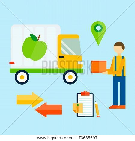 Delivery transport cargo logistic vector and shipping icons illustration. Commercial highway industrial city truck. Fast shipment distribution export courier car.