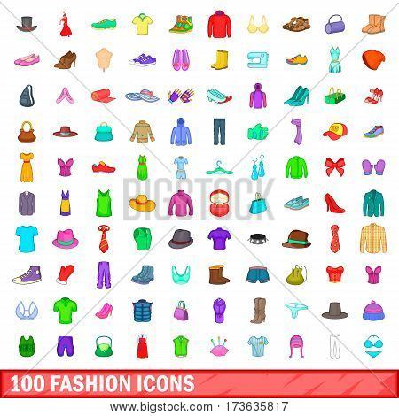 100 fashion icons set in cartoon style for any design vector illustration