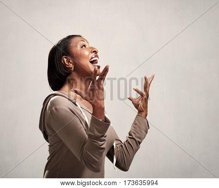 Happy surprised black woman profile