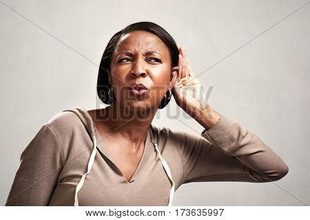 listening african woman.
