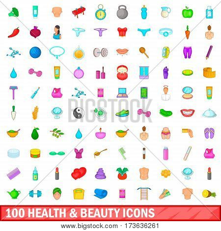 100 health and beauty icons set in cartoon style for any design vector illustration