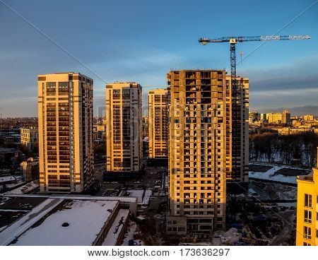 Construction of new modern skyscrapers Five Stars in low-rise area of the city of Voronezh