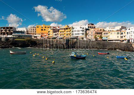 LOS ABRIGOS SPAIN - 12.02.2017: Fishing boats in Los Abrigos port Tenerife Canary Islands Spain