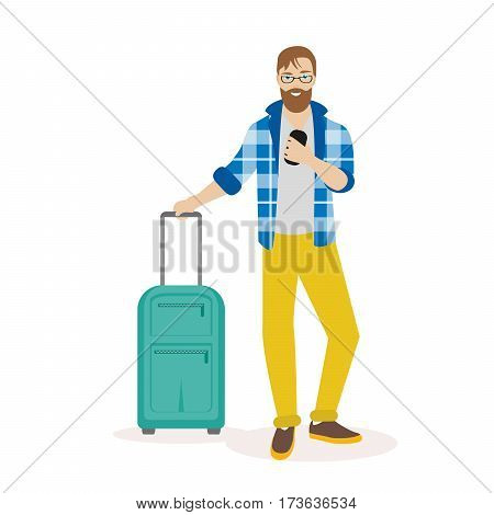 Hipster traveling man standing with suitcase and looking at mobile phone. Traveling man with suitcase using mobile phone. Flat character isolated on white background. Vector, illustration EPS10
