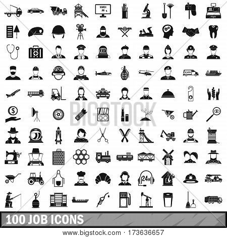 100 job icons set in simple style for any design vector illustration