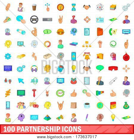 100 partnership icons set in cartoon style for any design vector illustration