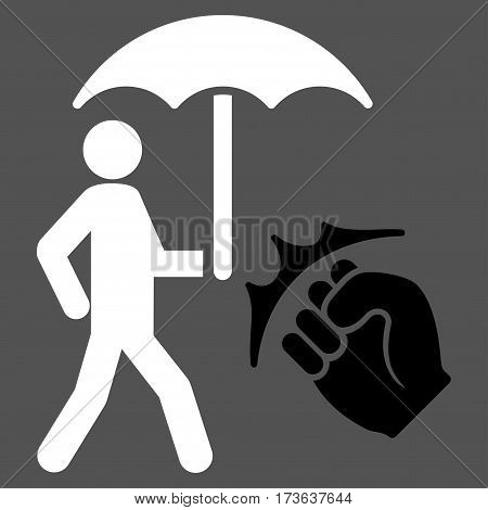 Crime Coverage vector icon. Flat bicolor black and white symbol. Pictogram is isolated on a gray background. Designed for web and software interfaces.