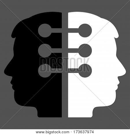 Dual Head Interface vector icon. Flat bicolor black and white symbol. Pictogram is isolated on a gray background. Designed for web and software interfaces.