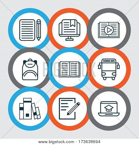 Set Of 9 Education Icons. Includes E-Study, Haversack, Opened Book And Other Symbols. Beautiful Design Elements.