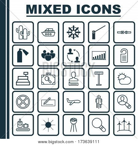 Set Of 25 Universal Editable Icons. Can Be Used For Web, Mobile And App Design. Includes Elements Such As Price, Restroom, Airplane Information And More.