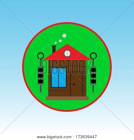Sign camping. Intuitive design. Barbecue Gothel vector illustration