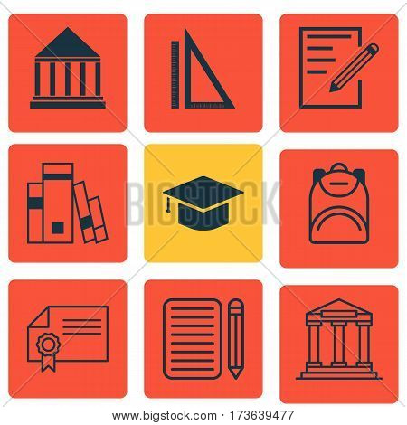 Set Of 9 School Icons. Includes Paper, Education Center, Haversack And Other Symbols. Beautiful Design Elements.