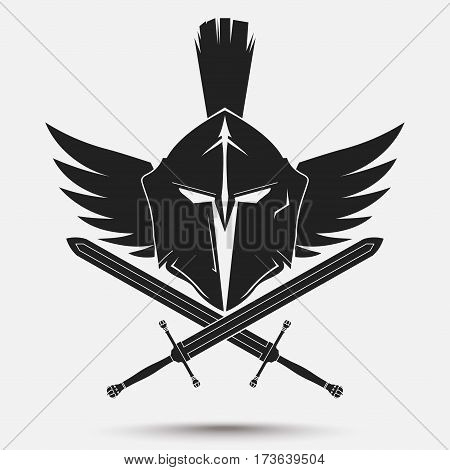 Spartan Helmet logo with crossed swords and wings, Greek warrior, Gladiator emblem, legionnaire heroic soldier. vector