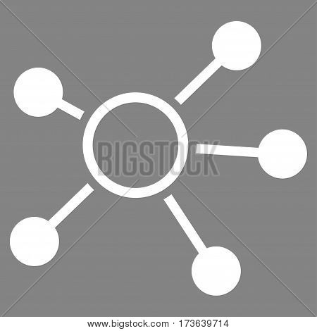 Connections vector icon. Flat white symbol. Pictogram is isolated on a gray background. Designed for web and software interfaces.