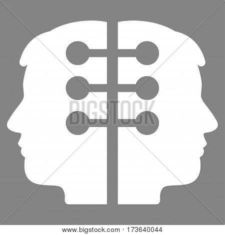 Dual Head Interface vector icon. Flat white symbol. Pictogram is isolated on a gray background. Designed for web and software interfaces.