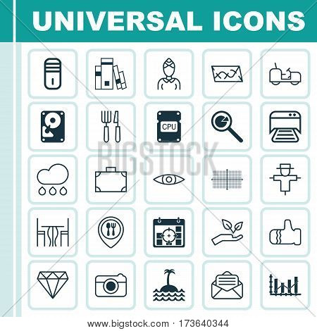 Set Of 25 Universal Editable Icons. Can Be Used For Web, Mobile And App Design. Includes Elements Such As Glance, Save World, Hdd And More.